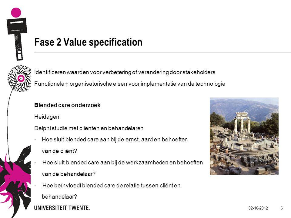 02-10-2012 6 Fase 2 Value specification Identificeren waarden voor verbetering of verandering door stakeholders Functionele + organisatorische eisen v