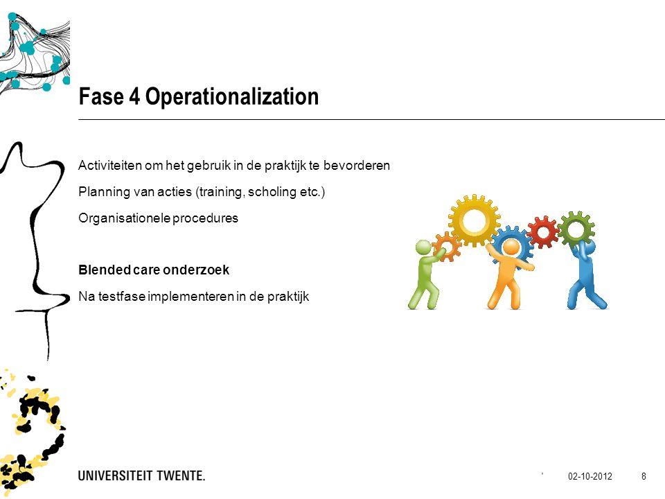 02-10-2012' 8 Fase 4 Operationalization Activiteiten om het gebruik in de praktijk te bevorderen Planning van acties (training, scholing etc.) Organis
