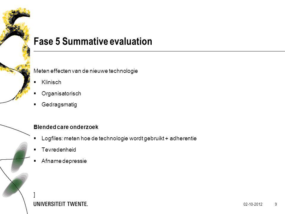 02-10-2012 9 Fase 5 Summative evaluation Meten effecten van de nieuwe technologie  Klinisch  Organisatorisch  Gedragsmatig Blended care onderzoek 