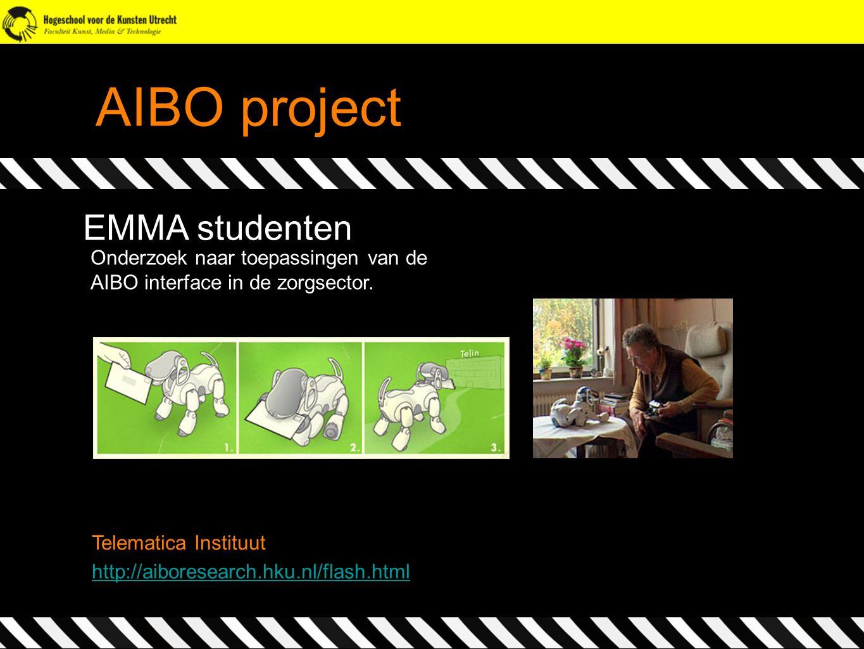 AIBO project EMMA studenten Onderzoek naar toepassingen van de AIBO interface in de zorgsector. http://aiboresearch.hku.nl/flash.html Telematica Insti