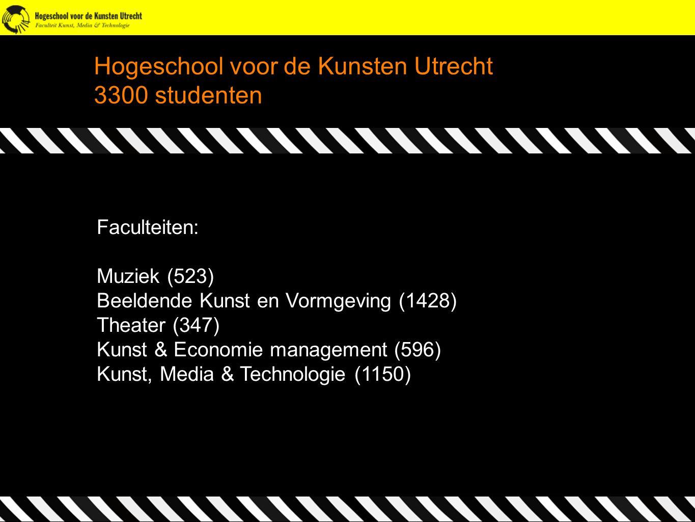 Hogeschool voor de Kunsten Utrecht 3300 studenten Hogeschool voor de Kunsten Utrecht 3300 studenten Faculteiten: Muziek (523) Beeldende Kunst en Vormg