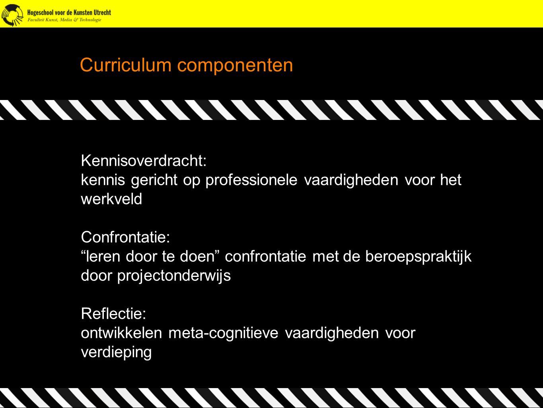 """Curriculum componenten Kennisoverdracht: kennis gericht op professionele vaardigheden voor het werkveld Confrontatie: """"leren door te doen"""" confrontati"""