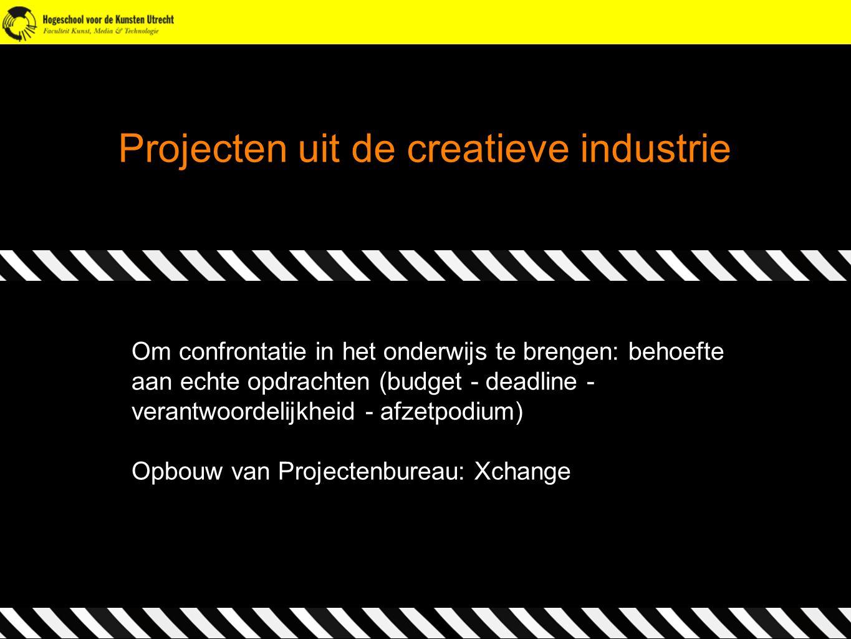 Projecten uit de creatieve industrie Om confrontatie in het onderwijs te brengen: behoefte aan echte opdrachten (budget - deadline - verantwoordelijkh