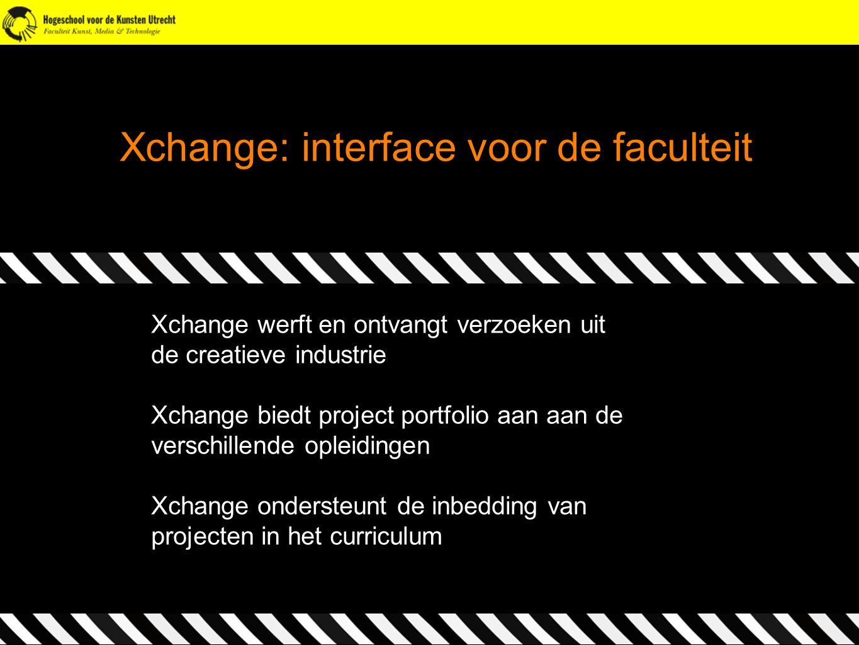 Xchange: interface voor de faculteit Xchange werft en ontvangt verzoeken uit de creatieve industrie Xchange biedt project portfolio aan aan de verschi