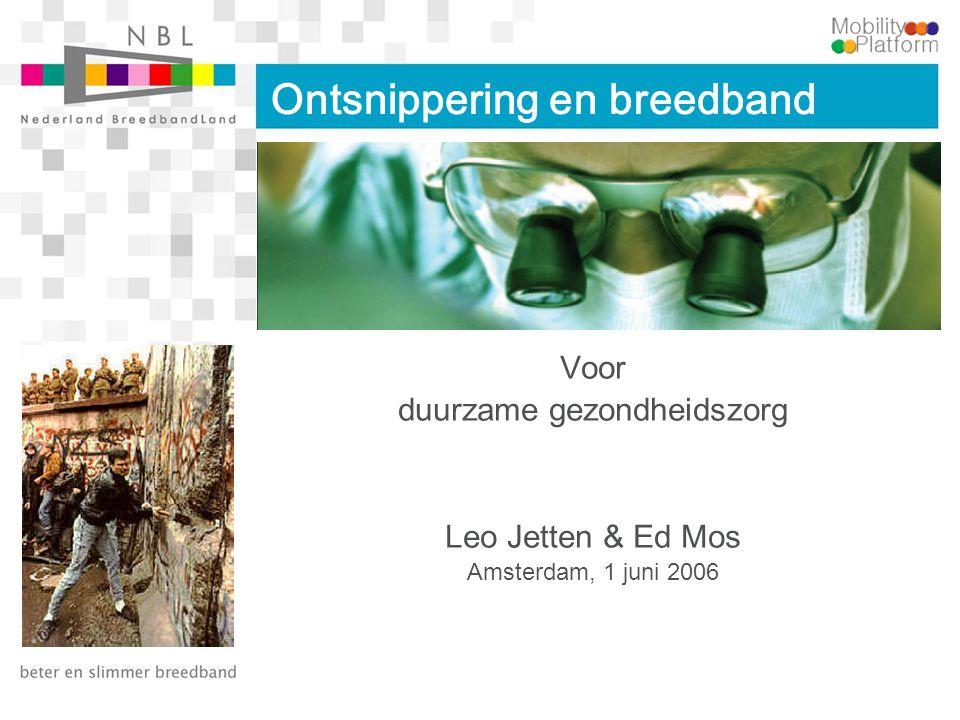 Onderwerpen Duurzame gezondheidszorg Breedband Zorg ICT Nederland BreedbandLand Empowerment van de burger Nationale schaal met NBL Resultaten door coöperatie Partneren met private industrie Dingen voor elkaar krijgen Lessons learned Next steps