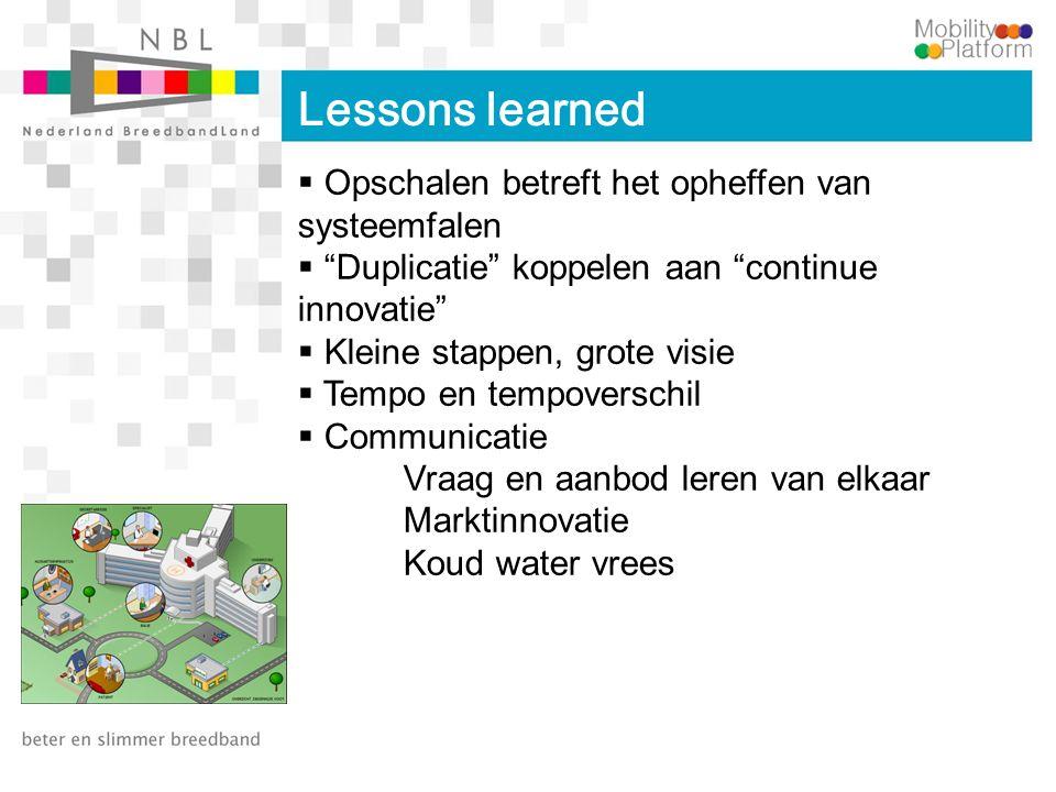 """Lessons learned  Opschalen betreft het opheffen van systeemfalen  """"Duplicatie"""" koppelen aan """"continue innovatie""""  Kleine stappen, grote visie  Tem"""