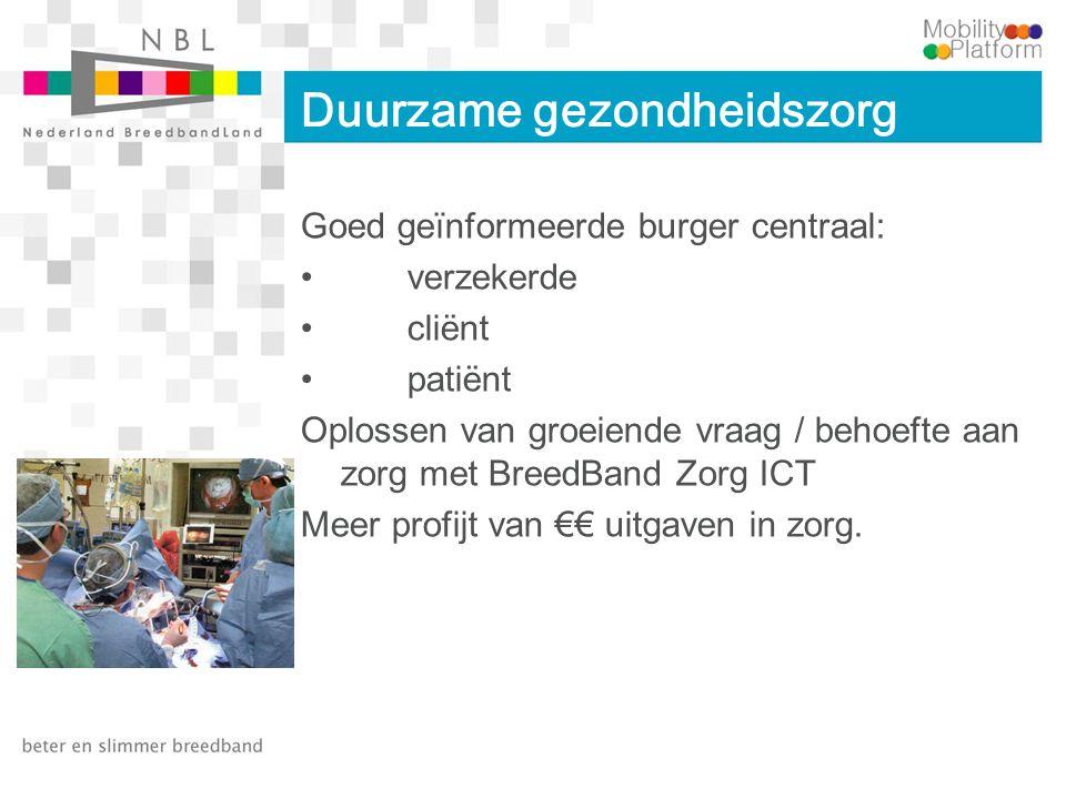 Duurzame gezondheidszorg Goed geïnformeerde burger centraal: verzekerde cliënt patiënt Oplossen van groeiende vraag / behoefte aan zorg met BreedBand Zorg ICT Meer profijt van €€ uitgaven in zorg.