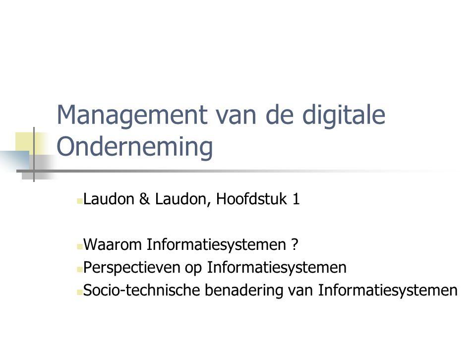 Management van de digitale Onderneming Laudon & Laudon, Hoofdstuk 1 Waarom Informatiesystemen ? Perspectieven op Informatiesystemen Socio-technische b