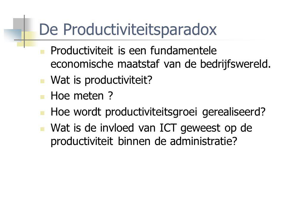 De Productiviteitsparadox Productiviteit is een fundamentele economische maatstaf van de bedrijfswereld. Wat is productiviteit? Hoe meten ? Hoe wordt