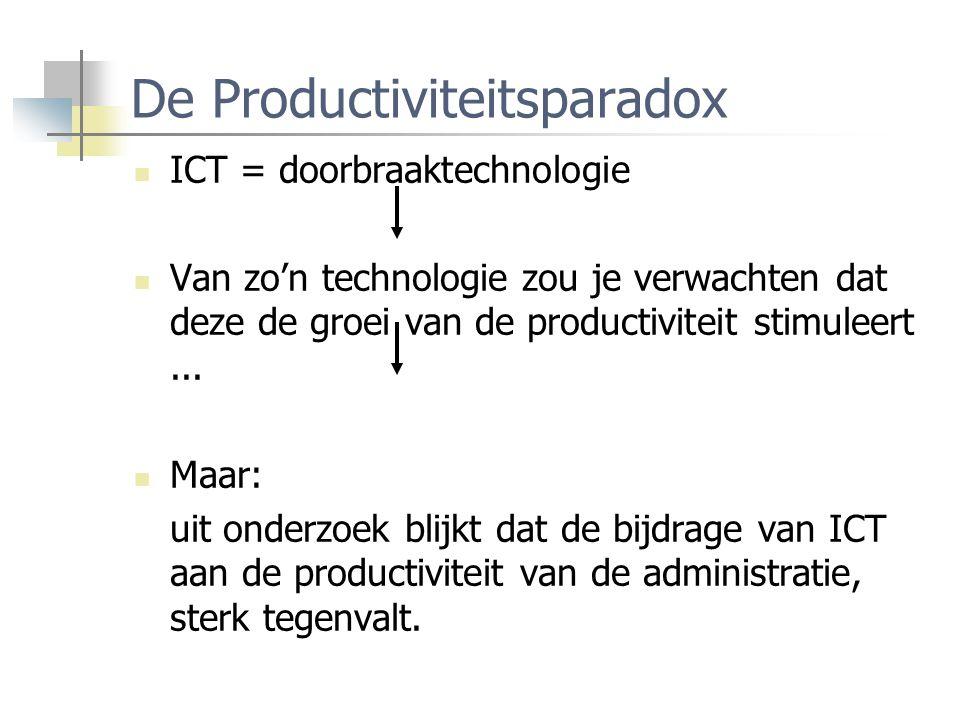 De Productiviteitsparadox ICT = doorbraaktechnologie Van zo'n technologie zou je verwachten dat deze de groei van de productiviteit stimuleert... Maar