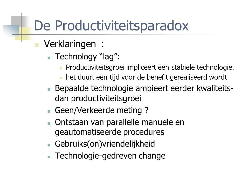 """De Productiviteitsparadox Verklaringen : Technology """"lag"""": Productiviteitsgroei impliceert een stabiele technologie. het duurt een tijd voor de benefi"""