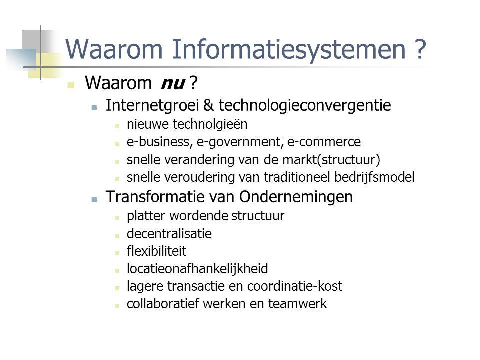 Waarom Informatiesystemen ? Waarom nu ? Internetgroei & technologieconvergentie nieuwe technolgieën e-business, e-government, e-commerce snelle verand