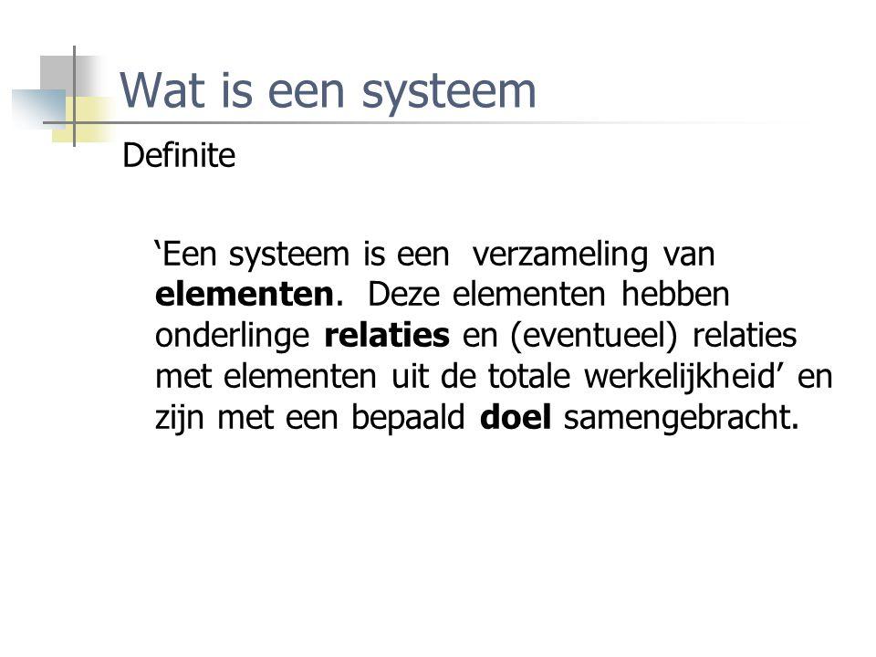 Wat is een systeem Definite 'Een systeem is een verzameling van elementen. Deze elementen hebben onderlinge relaties en (eventueel) relaties met eleme