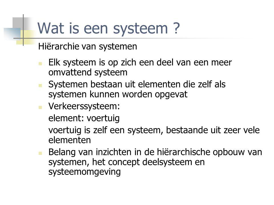 Wat is een systeem ? Hiërarchie van systemen Elk systeem is op zich een deel van een meer omvattend systeem Systemen bestaan uit elementen die zelf al
