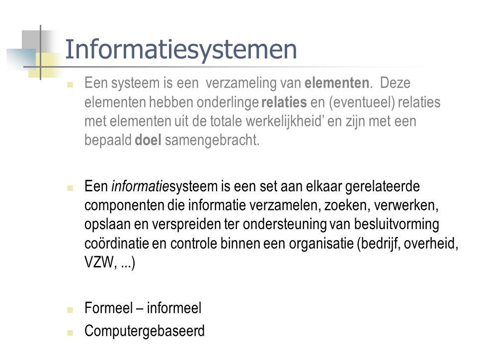 Informatiesystemen Een systeem is een verzameling van elementen. Deze elementen hebben onderlinge relaties en (eventueel) relaties met elementen uit d