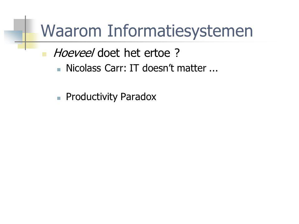 Waarom Informatiesystemen Hoeveel doet het ertoe ? Nicolass Carr: IT doesn't matter... Productivity Paradox