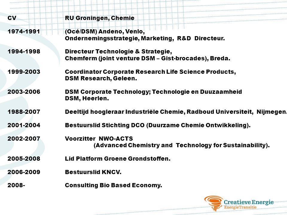 CVRU Groningen, Chemie 1974-1991(Océ/DSM) Andeno, Venlo, Ondernemingsstrategie, Marketing, R&D Directeur. 1994-1998Directeur Technologie & Strategie,