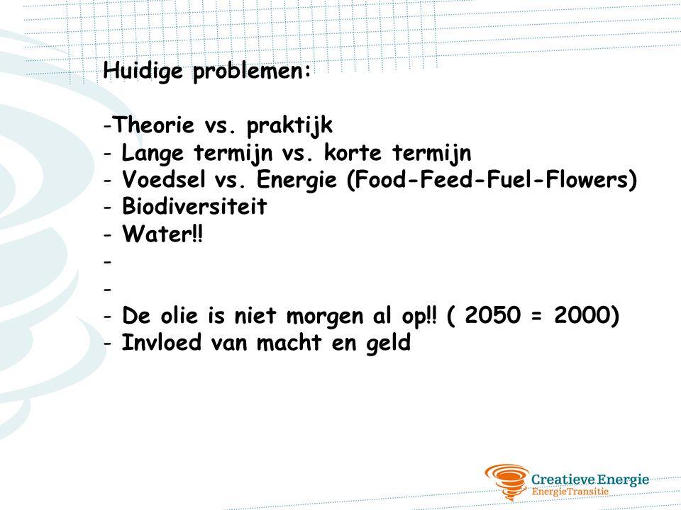 Huidige problemen: -Theorie vs. praktijk - Lange termijn vs. korte termijn - Voedsel vs. Energie (Food-Feed-Fuel-Flowers) - Biodiversiteit - Water!! -