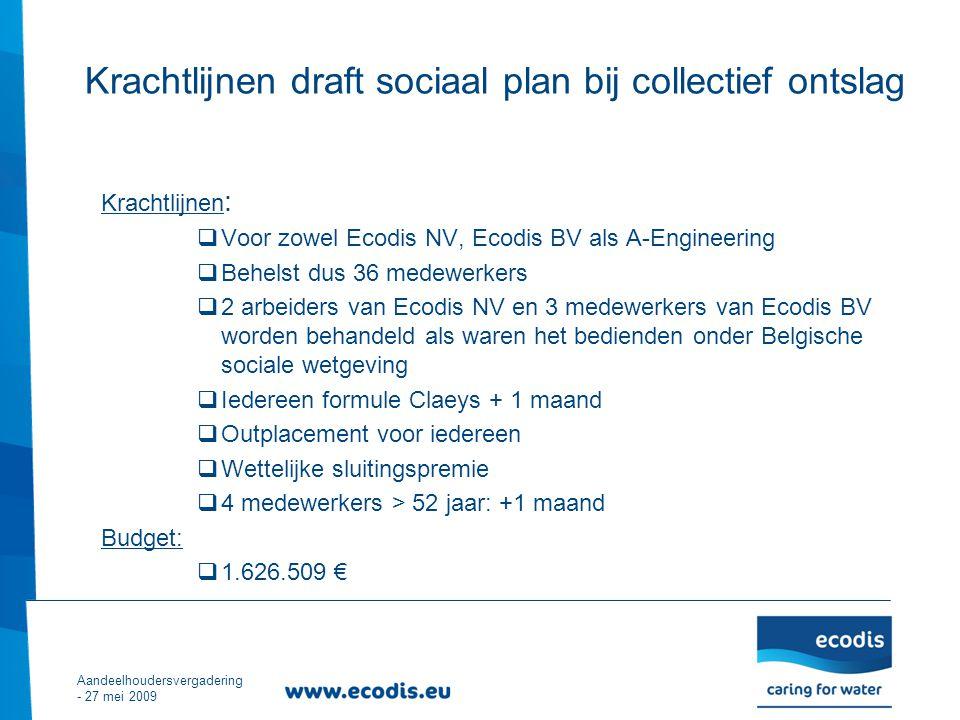 Krachtlijnen :  Voor zowel Ecodis NV, Ecodis BV als A-Engineering  Behelst dus 36 medewerkers  2 arbeiders van Ecodis NV en 3 medewerkers van Ecodis BV worden behandeld als waren het bedienden onder Belgische sociale wetgeving  Iedereen formule Claeys + 1 maand  Outplacement voor iedereen  Wettelijke sluitingspremie  4 medewerkers > 52 jaar: +1 maand Budget:  1.626.509 € Aandeelhoudersvergadering - 27 mei 2009 Krachtlijnen draft sociaal plan bij collectief ontslag