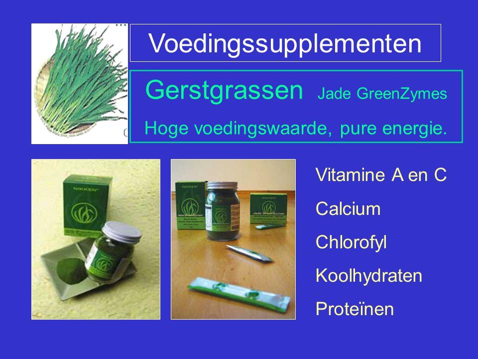 Gerstgrassen Jade GreenZymes Hoge voedingswaarde, pure energie. Voedingssupplementen Vitamine A en C Calcium Chlorofyl Koolhydraten Proteïnen