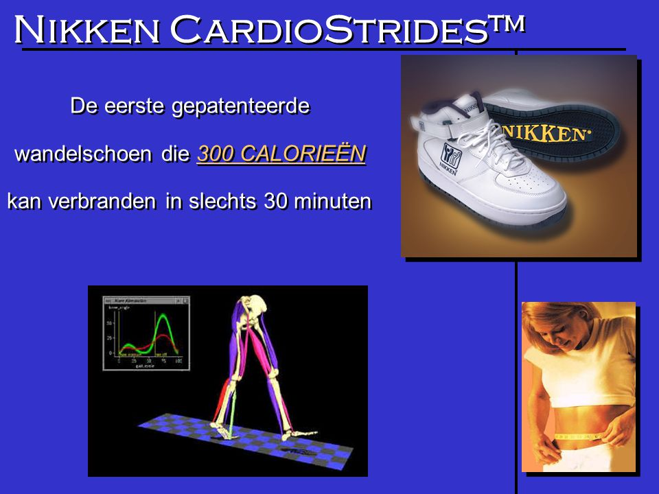 Nikken CardioStrides™ De eerste gepatenteerde wandelschoen die 300 CALORIEËN kan verbranden in slechts 30 minuten De eerste gepatenteerde wandelschoen die 300 CALORIEËN kan verbranden in slechts 30 minuten