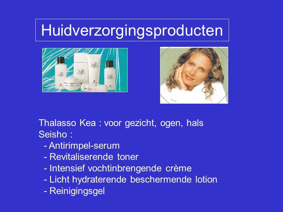 Thalasso Kea : voor gezicht, ogen, hals Seisho : - Antirimpel-serum - Revitaliserende toner - Intensief vochtinbrengende crème - Licht hydraterende beschermende lotion - Reinigingsgel Huidverzorgingsproducten