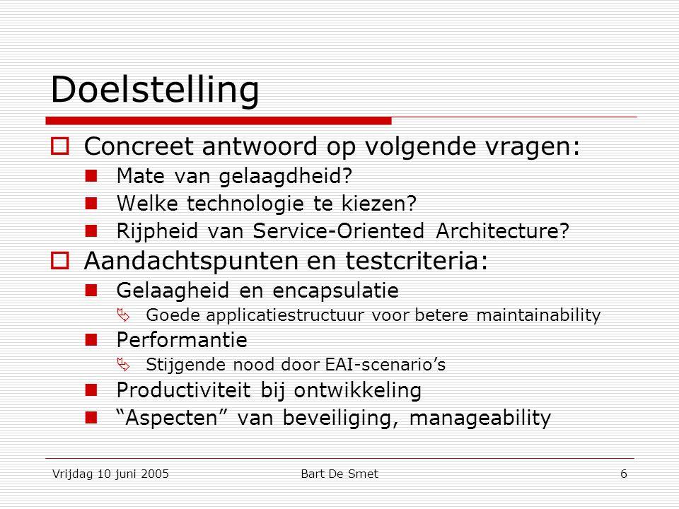 Vrijdag 10 juni 2005Bart De Smet7 Agenda  Introductie  Databasetoegang ADO.NET 1.x en 2.0 SQLXML SQL 2005 Web Services SOAP Data Provider  Communicatie tussen lagen  Conclusie  Vragen