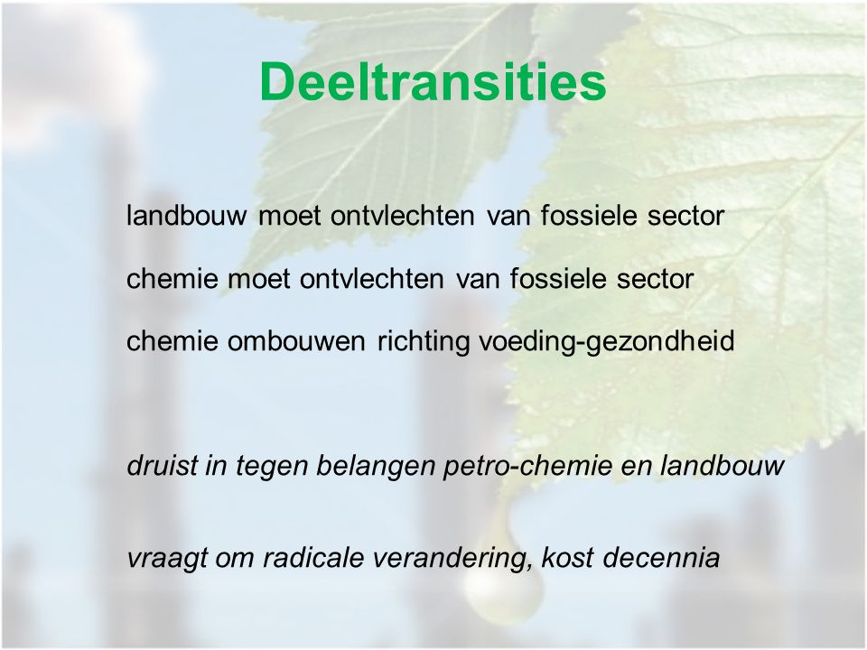 landbouw moet ontvlechten van fossiele sector chemie moet ontvlechten van fossiele sector chemie ombouwen richting voeding-gezondheid druist in tegen