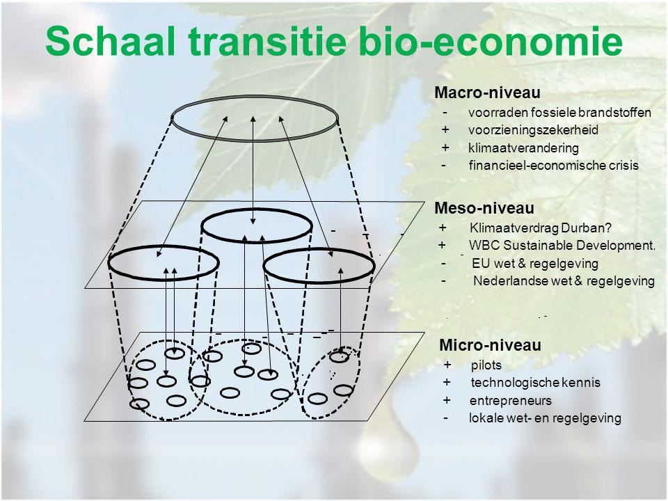 Schaal transitie bio-economie Macro-niveau - voorraden fossiele brandstoffen + voorzieningszekerheid + klimaatverandering - financieel-economische crisis Meso-niveau + Klimaatverdrag Durban.