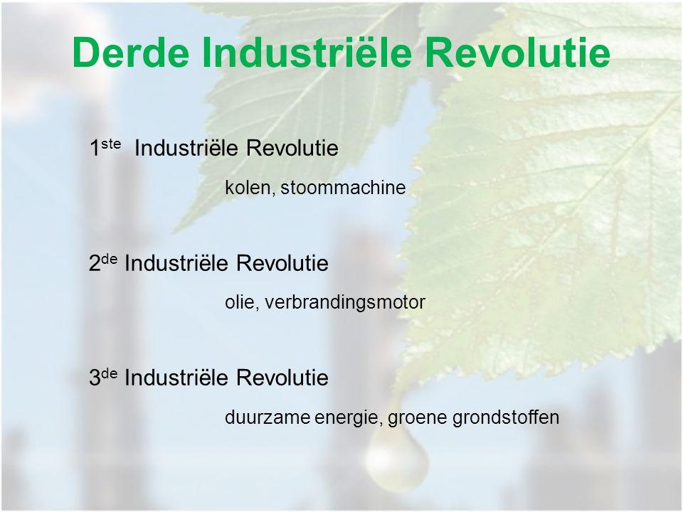 Derde Industriële Revolutie 1 ste Industriële Revolutie kolen, stoommachine 2 de Industriële Revolutie olie, verbrandingsmotor 3 de Industriële Revolutie duurzame energie, groene grondstoffen