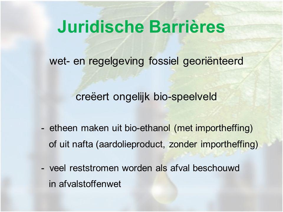 wet- en regelgeving fossiel georiënteerd creëert ongelijk bio-speelveld - etheen maken uit bio-ethanol (met importheffing) of uit nafta (aardolieproduct, zonder importheffing) - veel reststromen worden als afval beschouwd in afvalstoffenwet Juridische Barrières