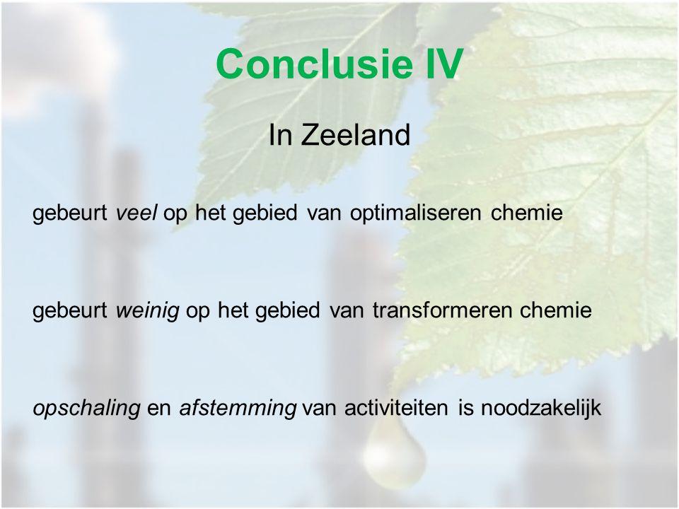 In Zeeland gebeurt veel op het gebied van optimaliseren chemie gebeurt weinig op het gebied van transformeren chemie opschaling en afstemming van activiteiten is noodzakelijk Conclusie IV