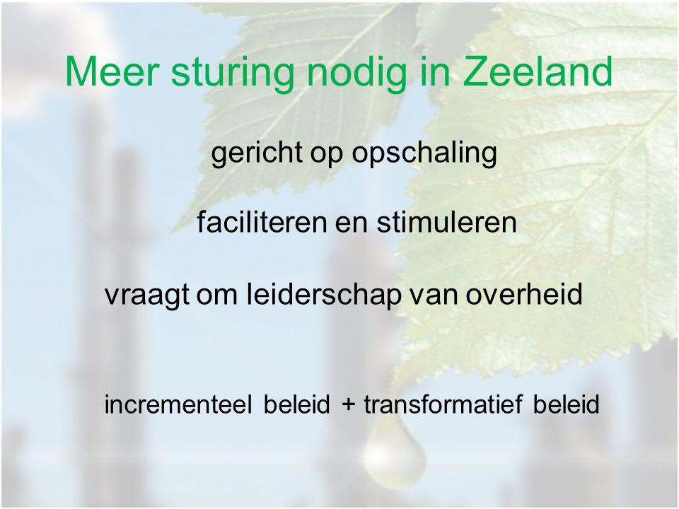 Meer sturing nodig in Zeeland gericht op opschaling faciliteren en stimuleren vraagt om leiderschap van overheid incrementeel beleid + transformatief
