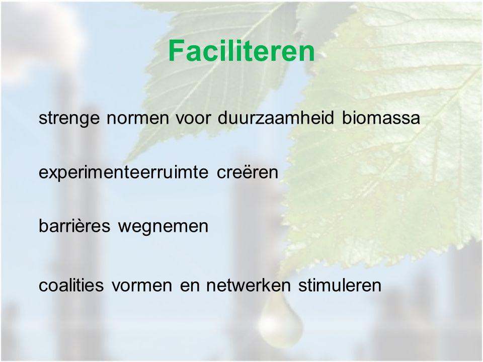 Faciliteren strenge normen voor duurzaamheid biomassa experimenteerruimte creëren barrières wegnemen coalities vormen en netwerken stimuleren