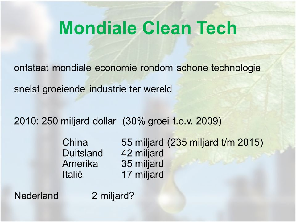 ontstaat mondiale economie rondom schone technologie snelst groeiende industrie ter wereld 2010: 250 miljard dollar (30% groei t.o.v. 2009) China55 mi