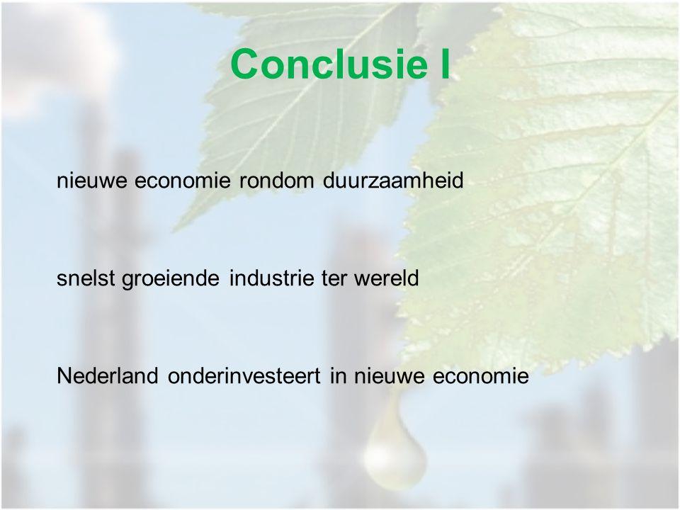 nieuwe economie rondom duurzaamheid snelst groeiende industrie ter wereld Nederland onderinvesteert in nieuwe economie Conclusie I