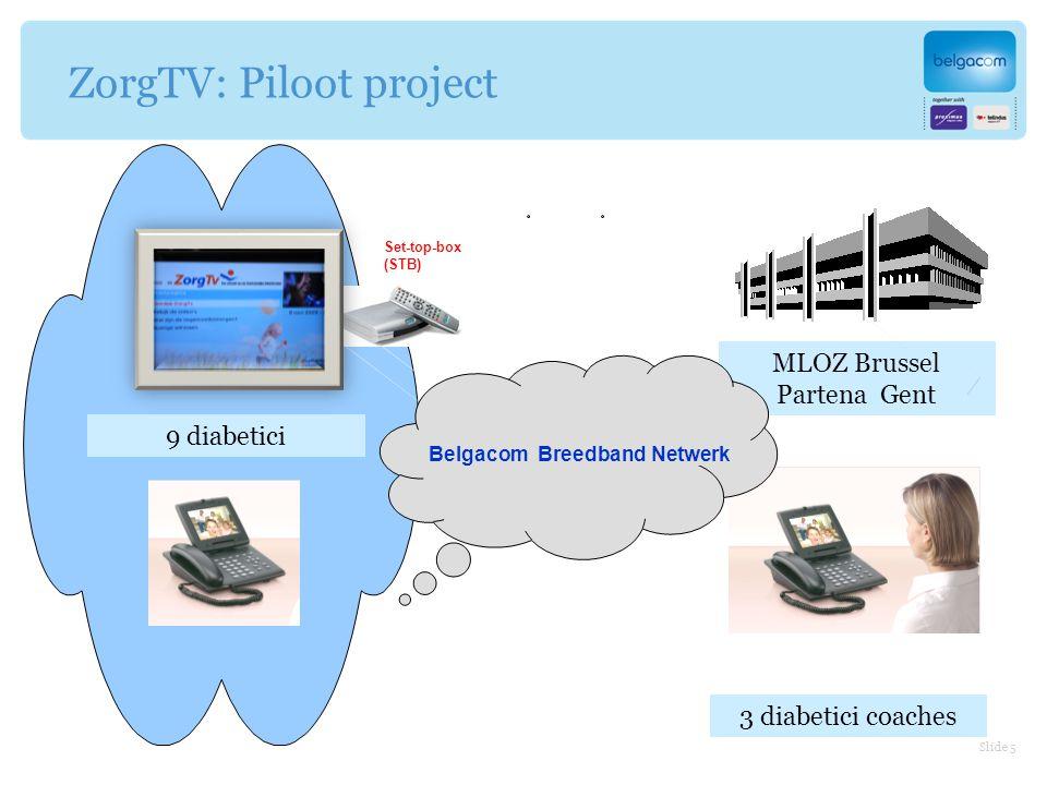 MLOZ Brussel Partena Gent ZorgTV: Piloot project Set-top-box (STB) Belgacom Breedband Netwerk 9 diabetici 3 diabetici coaches Slide 5