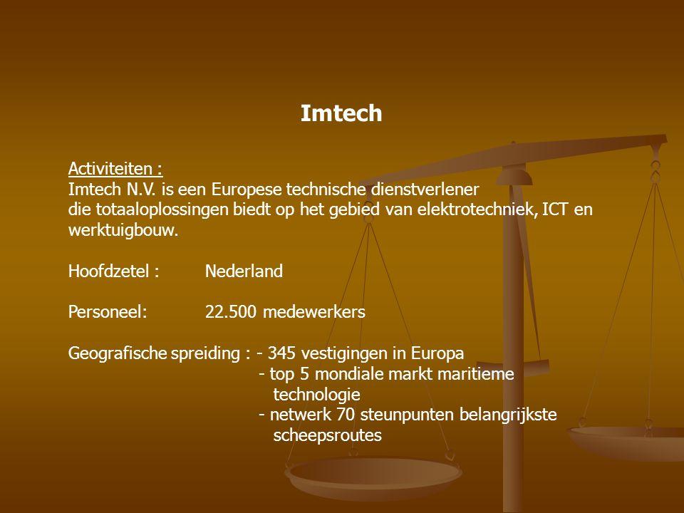 Imtech Activiteiten : Imtech N.V. is een Europese technische dienstverlener die totaaloplossingen biedt op het gebied van elektrotechniek, ICT en werk