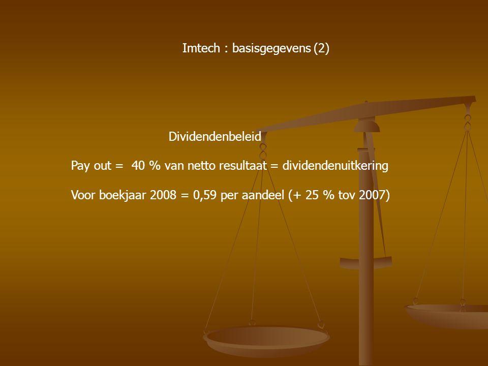 Dividendenbeleid Pay out = 40 % van netto resultaat = dividendenuitkering Voor boekjaar 2008 = 0,59 per aandeel (+ 25 % tov 2007) Imtech : basisgegeve
