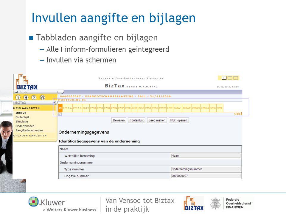Van Vensoc tot Biztax in de praktijk Invullen aangifte en bijlagen Tabbladen aangifte en bijlagen —Alle Finform-formulieren geïntegreerd —Invullen via