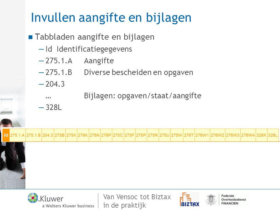 Van Vensoc tot Biztax in de praktijk Invullen aangifte en bijlagen Tabbladen aangifte en bijlagen —Id Identificatiegegevens —275.1.AAangifte —275.1.BD