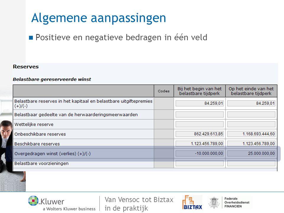 Van Vensoc tot Biztax in de praktijk Algemene aanpassingen Positieve en negatieve bedragen in één veld