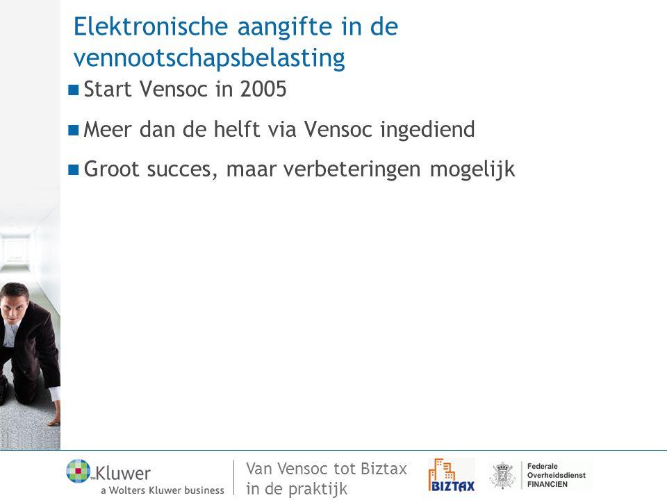 Van Vensoc tot Biztax in de praktijk Elektronische aangifte in de vennootschapsbelasting Start Vensoc in 2005 Meer dan de helft via Vensoc ingediend G