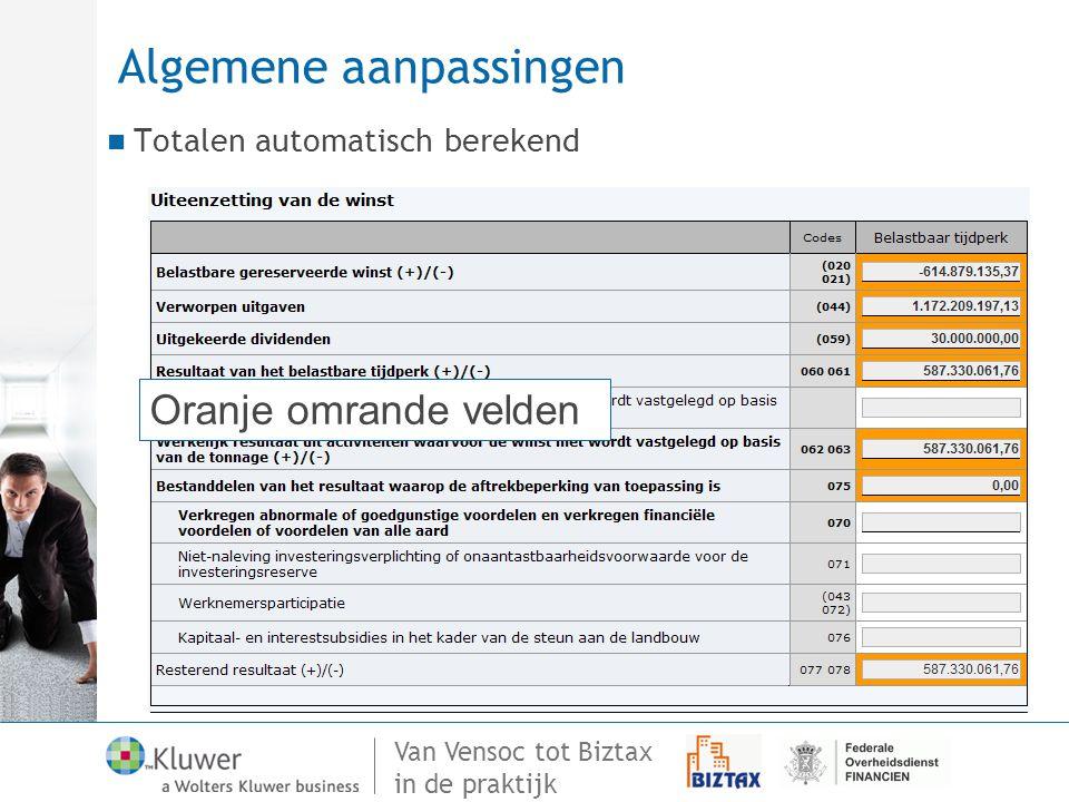 Van Vensoc tot Biztax in de praktijk Algemene aanpassingen Totalen automatisch berekend Oranje omrande velden