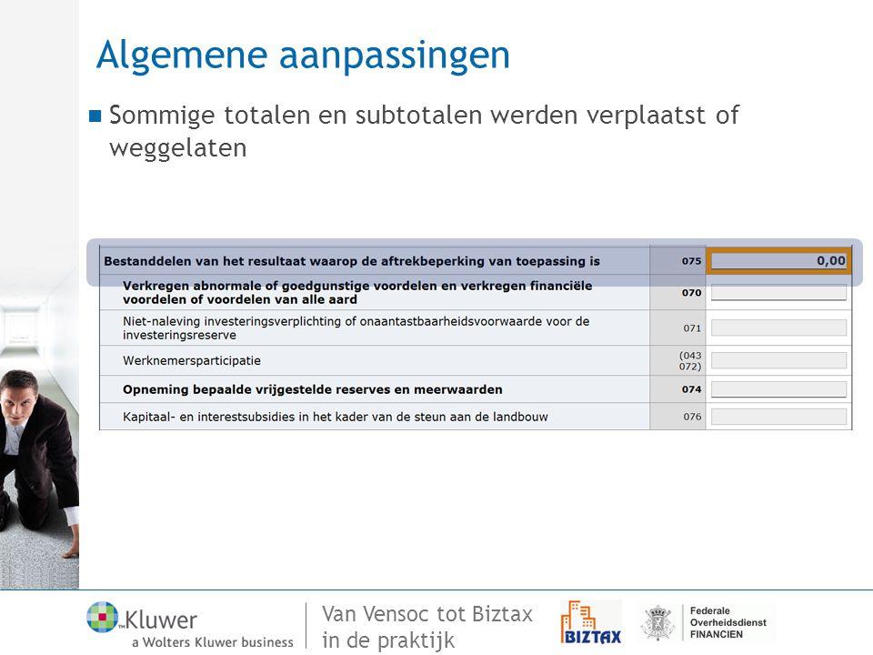Van Vensoc tot Biztax in de praktijk Algemene aanpassingen Sommige totalen en subtotalen werden verplaatst of weggelaten