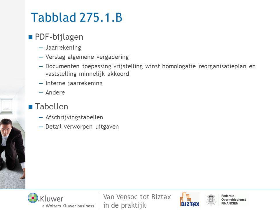 Van Vensoc tot Biztax in de praktijk Tabblad 275.1.B PDF-bijlagen —Jaarrekening —Verslag algemene vergadering —Documenten toepassing vrijstelling wins