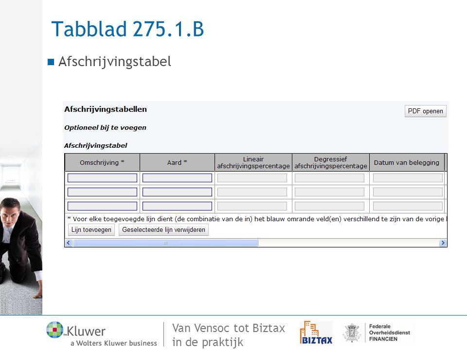 Van Vensoc tot Biztax in de praktijk Tabblad 275.1.B Afschrijvingstabel