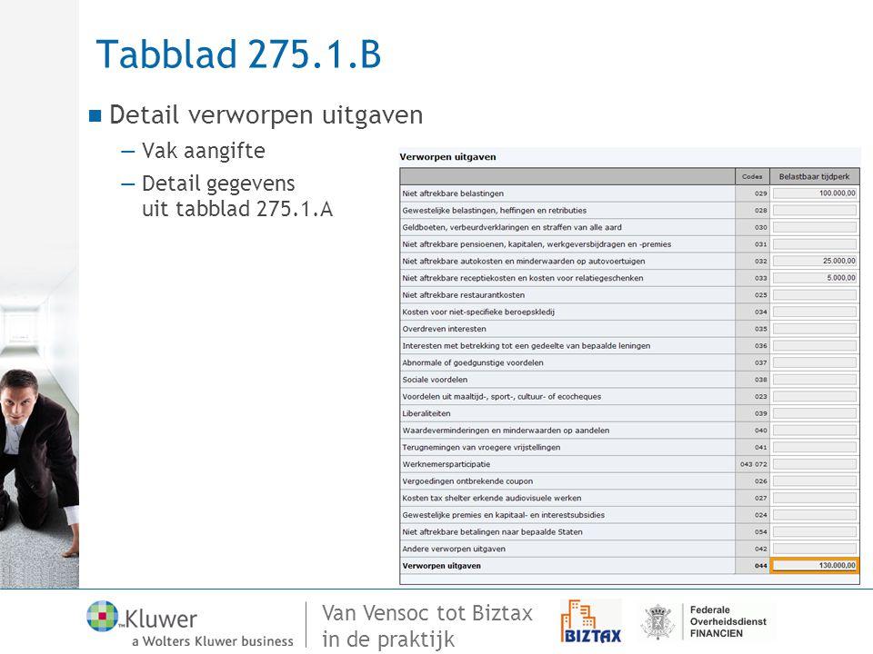 Van Vensoc tot Biztax in de praktijk Tabblad 275.1.B Detail verworpen uitgaven —Vak aangifte —Detail gegevens uit tabblad 275.1.A
