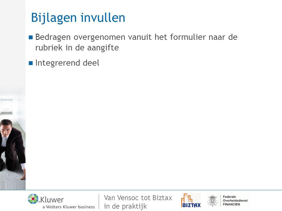 Van Vensoc tot Biztax in de praktijk Bijlagen invullen Bedragen overgenomen vanuit het formulier naar de rubriek in de aangifte Integrerend deel