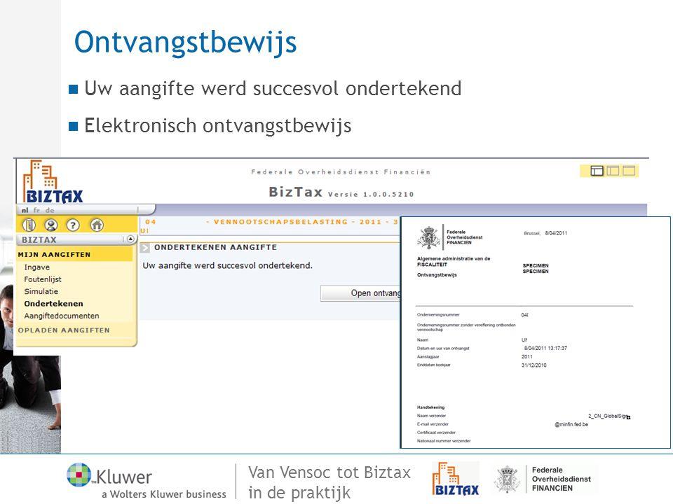 Van Vensoc tot Biztax in de praktijk Ontvangstbewijs Uw aangifte werd succesvol ondertekend Elektronisch ontvangstbewijs